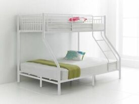Trio Sleeper Metal Bunk Bed Frame in silver Color-Double Bottom Single Top Mattress Options