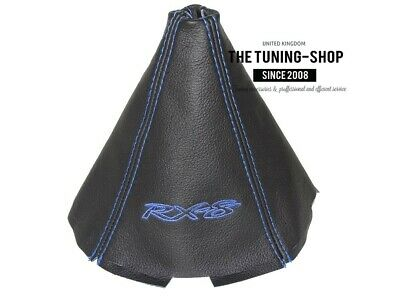 """For Mazda RX-8 4 Panels Shift Boot Gaiter Leather """"RX-8"""" Blue Embroidery"""