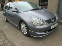 HONDA CIVIC SPORT 3 DOOR-- £100 Deposit £95.21x36 -- BUY NOW PAY IN 2017 -- (grey) 2005