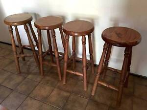 Set of 4 Wooden Bar Stools Kiama Downs Kiama Area Preview
