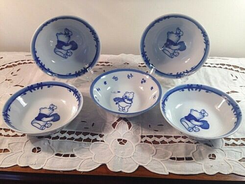 Vintage Sango Disney Winne the Pooh Bowls Dessert Bowls Set of 5