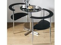 3-piece Black Glass Round 'Love' Dining Set (Table & 2 Chairs)
