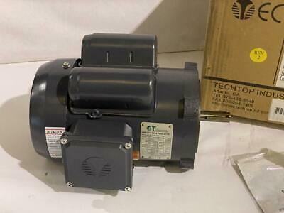 Techtop 0.75hp Ac Motor 1725 Rpm Tefc 115208230 Vac 56c 1 Phase Motor