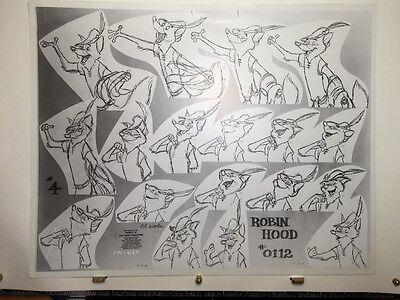 Walt Disney ROBIN HOOD Set Of PRODUCTION MODEL SHEETS ORIGINAL 1971 Milt Kahl