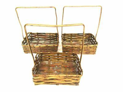 Vintage Miniature Woven Brass German Basket Ornaments Doll Lot Of 3