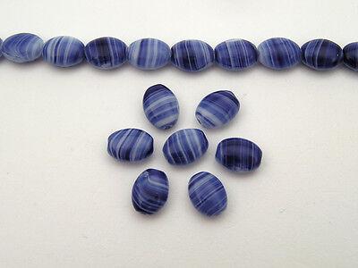 51 Czech flat oval druk beads 8x6mm 2-tone Agate Lapis Dk.Blue, 16 inch strand