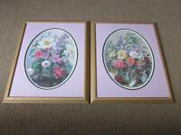 """MATCHING PAIR OF FRAMED FLORAL PRINTS - 22"""" x 19""""."""