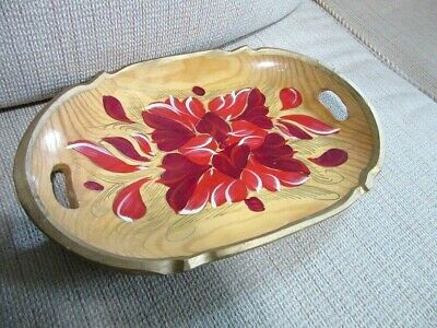 Vintage hand painted wood bread tray. Red Flowers