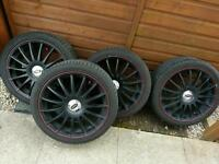 """18"""" BLACK ALLOYS (WITH RED TRIM) 'RS LOOK'. BARGAIN. MUST SEE!"""
