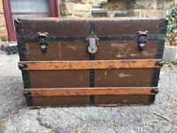 Black/Brown flat top steamer trunk