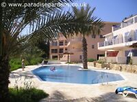 Cyprus Paphos poolside villa holiday home with roof terrace for long term winter lets, sleeps 6