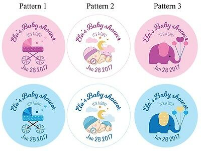 Set of Personalized Baby shower Party Girl Boy Baby Elephant Cute Stroller Blue  (Girl Elephant Baby Shower)