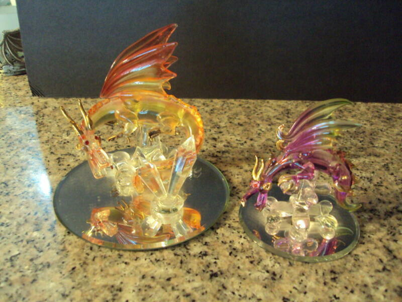 2 Blown Glass Dragons on Mirrors one is Orange the other Pink with Gol ID:67799