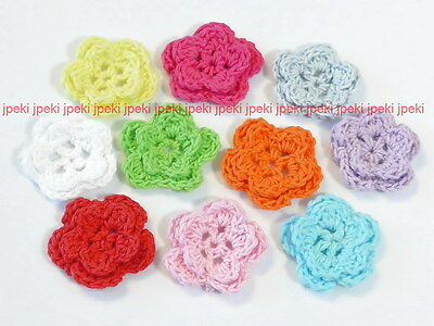 Lot of 40 Handmade Crochet Flower Appliques Sewing Multi-Color A161