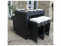 **FREE & FAST UK DELIVERY** Outdoor Gardern All Weather Black Rattan 5 Piece Bar Set - BRAND NEW!