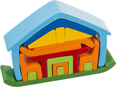 Bausteine Bauklötze Puzzle Haus Legespiel Setzpuzzle aus Holz 16 Teile
