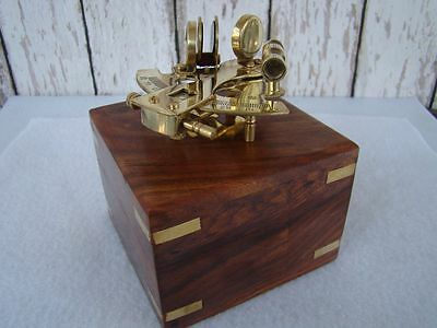 Polished Brass Sextant W  Box   Sextent Astrolabe   Nautical Maritime Instrument