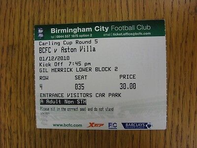 01/12/2010 Ticket: Birmingham City v Aston Villa [Football League Cup]. This ite