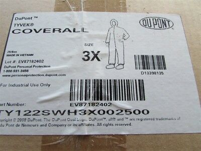 1--pair Of Tyvek 3x Coveralls With Hood Ty122swh3x002500 E-51