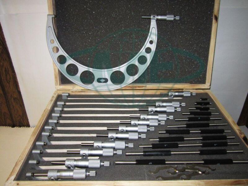 "0-12"" Precision outside micrometer set 0.0001"" carbide standards 12pcs/set--new"