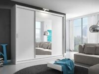 BRAND NEW 2 DOOR DICE MIRROR SLIDING CUPBOARD WITH LED LIGHT IN BLACK, WHITE