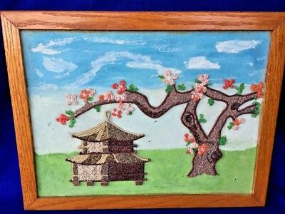 Vintage Chinese Rose Famille Pagoda Cherry Blossom Wall Art  ▬ UNIQUE 13/17 ❤️