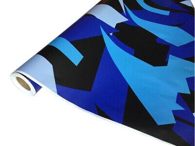 Camouflage Autofolie 50cm x 152cm Luftkanäle Schwarz Blau Himmelblau #34