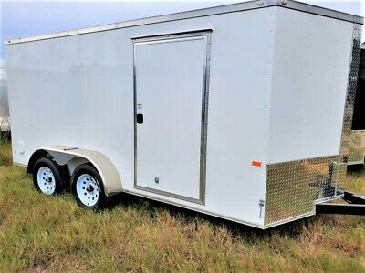 7'x14' Enclosed Trailer Cargo ATV Motorcycle 12 Utility Box 16 Trailers V Nose
