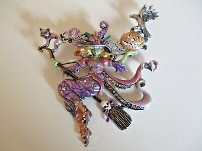 KIRKS FOLLY Diva Witch Pin - Brooch - Enamelled Pin - Silver Tone - Crystal Pin