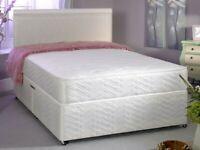 BRAND NEW -! DOUBLE DIVAN BED + DEEP QUILT MATTRESS & HEADBOARD /DRAWERS OPTION