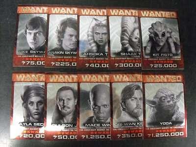 2015 Topps Star Wars Chrome Perspectives Jedi Hunt 10 Card Complete Insert Set