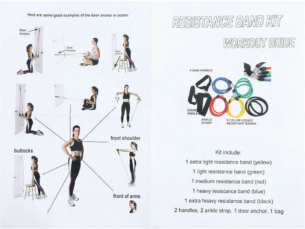 Resistance Bands 11 PCS Set Yoga Pilates Abs Exercise Fitness Tube Workout Bands 10