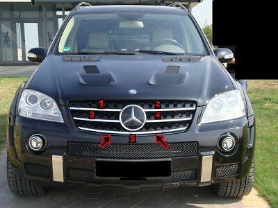 Für Mercedes M-Klasse W164 2005-2013 Kühler Grill Leisten 5tlg Edelstahl Chrome