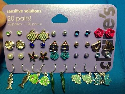 20 Pairs Claires Sensitive Solutions Fish Studs And Ball Dangling Earrings New