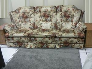 3 SEATS SOFA + 1 CHAIR + 2 SIDE TABLES - MOVING SALE