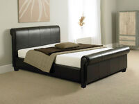 Faux leather king size bed with wooden slats, excellent condition, CAN DELIVER