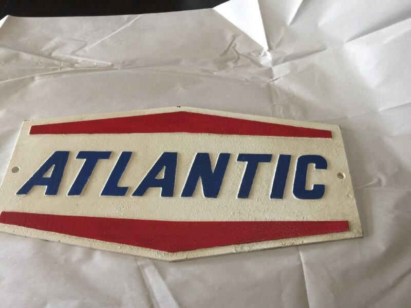 """CAST IRON """"ATLANTIC"""" OIL & GAS RED WHITE & BLUE CAST IRON SIGN"""