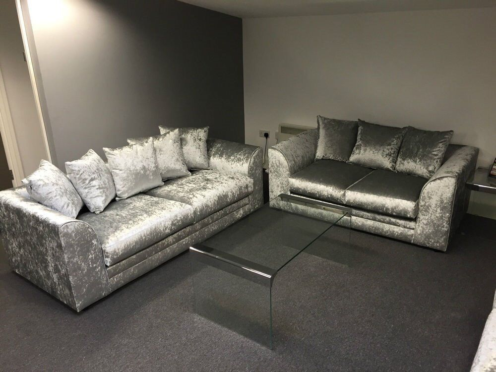 NEW CRUSH VELVET 3+2 SEATER SOFAS CAN DELIVER FREE