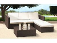 **FREE & FAST UK DELIVERY** Garden Rattan Corner Sofa with Footstool and Table - BRAND NEW