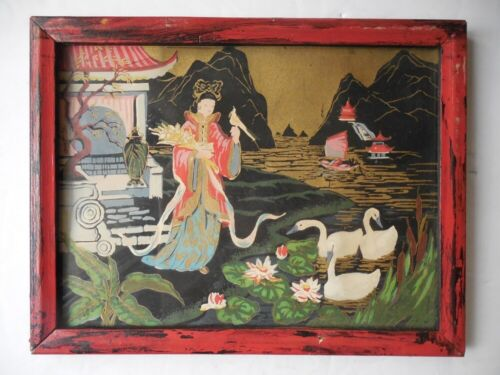 """Antique Yasodhara  Fine Miniature Hand Painting on textile framed 8 3/4"""" x 6 3/4"""