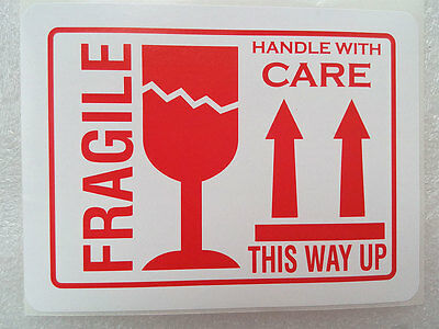 100 4x3 Fragile This Way Up Handle With Care Stickers Labels