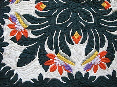 Hawaiian quilt 100% hand quilted hand appliquéd wall hanging baby blanket 42