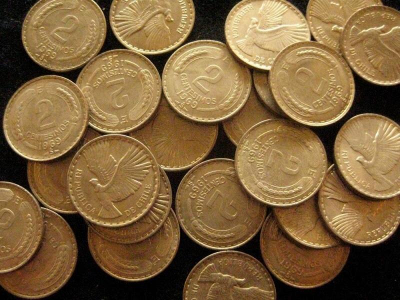 Chile  lot 25 coins  2 Centesimos 1969 BU