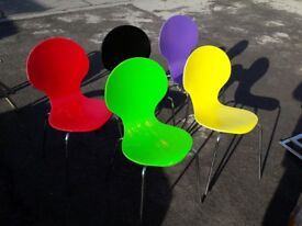 Batch of 5 x brightly coloured stackable wooden chairs for schools etc (noticeable wear)