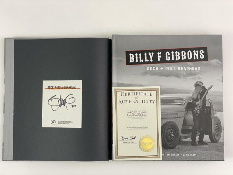 """BILLY GIBBONS SIGNED AUTOGRAPH """"ROCK + ROLL GEAR HEAD"""" BOOK - ZZ TOP VERY RARE!"""