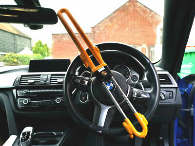 TOOGOO Reliable Car Steering Wheel Lock Brake Pedal Clutch Lock Retractable Hook Universal Anti-Theft for Van Car Suv Lorry Truck Heavy Duty for Car Auto Security with 3 Keys