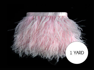 1 Yard - Baby Pink Ostrich Fringe Trim Wholesale Feather Craft Dress - Wholesale Craft Suppliers
