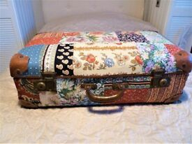 Vintage shabby chic floral suitcase