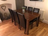 Solid Dark Wood Dining Table & 6 Chairs