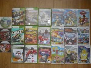 jeux de Wii et de xbox 360